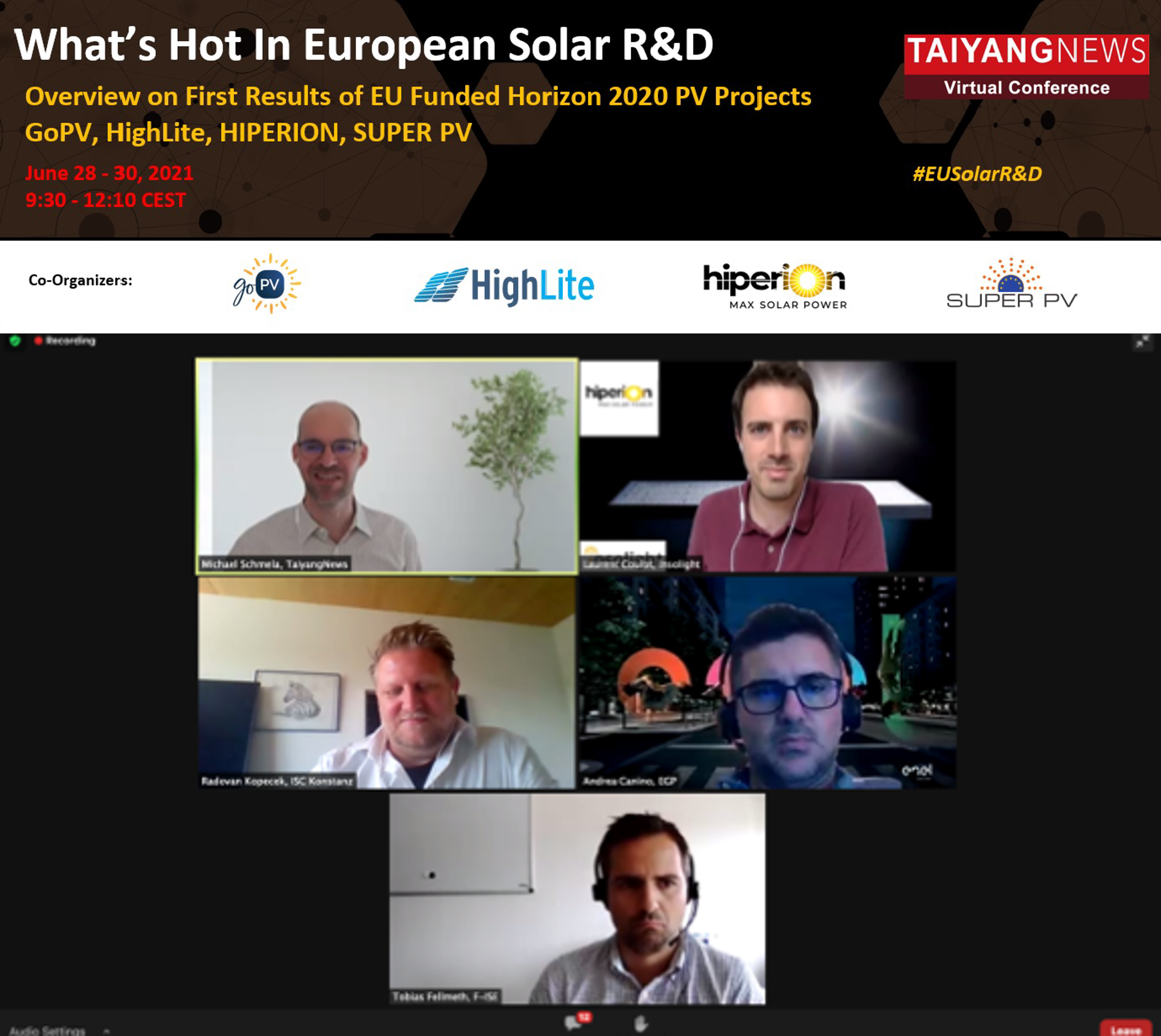 TaiyangNews' Michael Schmela engaged in a panel discussion on the Rationale for Made in EU Concepts and Technologies with Insolight's Laurent Coulot, ISC Konstanz's Radovan Kopecek, Enel Green Power's Andrea Canino, and Fraunhofer-ISE's Tobias Fellmeth on day 1 of the TaiyangNews What's Hot in European Solar R&D Conference. (Photo Credit: TaiyangNews).