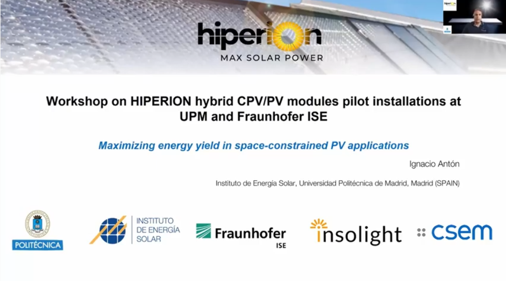 Workshop on HIPERION hybrid CPV/PV modules pilot installations at UPM and Fraunhofer ISE.